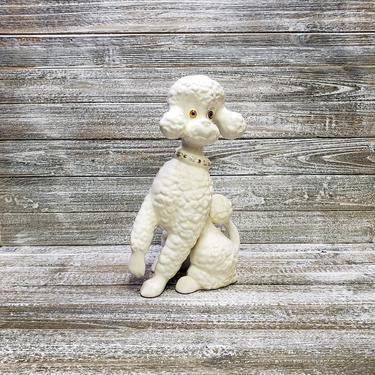 Vintage Ceramic Poodle, French Poodle Figurine, Vintage Dog Collectible, White Poodle, Man's Best Friend, Dog Lover Gift, Vintage Home Decor by AGoGoVintage