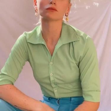 Vintage 90s/y2k Neon Green Poly Blouse by TheMetalRomanticShop