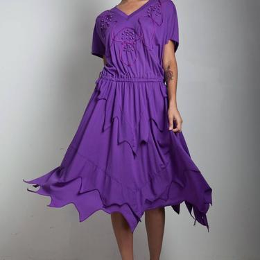 vintage 80s deconstructed dress beaded soutache purple handkerchief hem ONE SIZE S M L small medium large by shoprabbithole