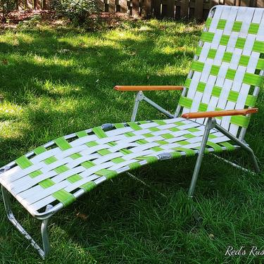 Vintage Green and Cream Webbed and Aluminum Folding Garden/Lawn Lounge Chair with Wood Arms by RedsRustyRelics