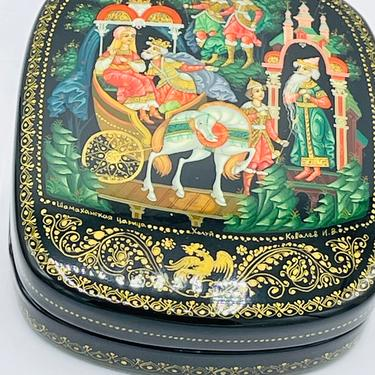 Lovely Russian Black Lacquer Hand Painted Palekh Trinket Box-Signed and Dated-Russian Troyka by JoAnntiques