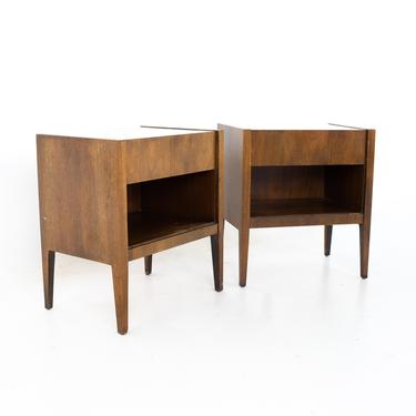 Mid Century Walnut and White Laminate Nightstands - A Pair - mcm by ModernHill