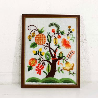 Vintage Tree Needlepoint Framed Kitsch Retro Decor Wall Hanging Kitschy Nursery Kids Room Blue Flowers Flower Floral Handmade Baby Shower by CheckEngineVintage