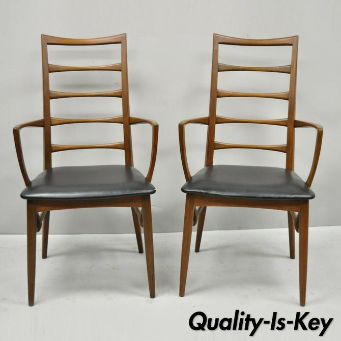 2 Koefoed Hornslet Mid Century Danish Modern Teak Ladder Back Dining Arm Chairs