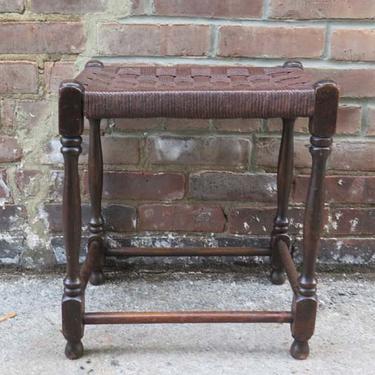 Antique English Woven Top Stool