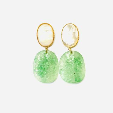 The Pink Reef Mother of pearl and acetate jade drop earring