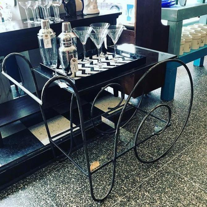 Iron and glass bar cart