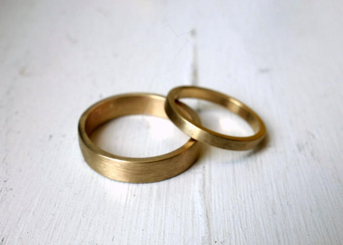 Pair of 14k Yellow Gold Frosted Square Edged Wedding Bands by RachelPfefferDesigns