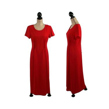 Long Red Formal Dress, Maxi Short Sleeve, Modest Cocktail Evening, Mother of the Bride, 90s Vintage Clothing Women Medium, Positive Attitude by MagpieandOtis
