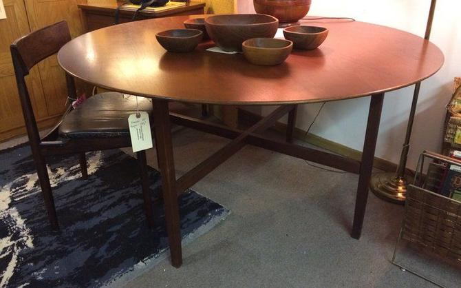 Vintage Knoll walnut round dining table -- $2,850
