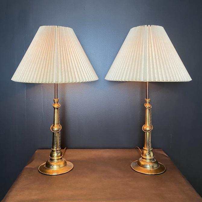 Pair of Lamps w/ Chain Detail