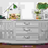 Gray Sideboard With Carved Doors