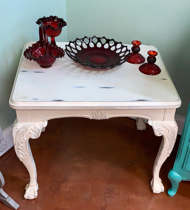 Solid wood white clawfoot chippendale accent tea table by JoyfulHeartReclaimed