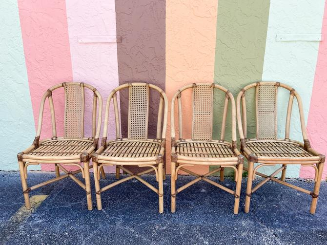 Set of Four Rattan and Cane Chairs