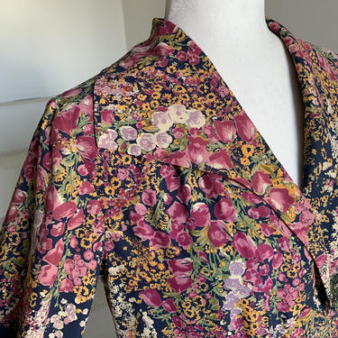 1930's Floral Garden Pattern Home Sewn Rayon Dress-Well Made by AmalgamatedShop