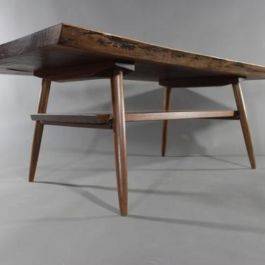 Handmade Live Edge Mid Century style Walnut Slab Table with shelf by GRWoodworker