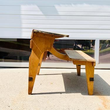 Antique Wood Double School Desk from England | European Kids Desk | Tandem Desk | Desk for Two | Children Desk | Homeschool Desk by PiccadillyPrairie