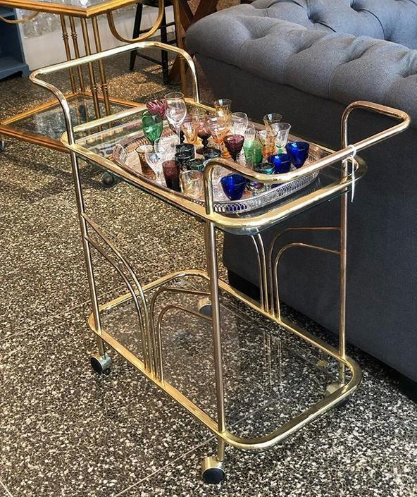 petite brass and glass bar cart! $90