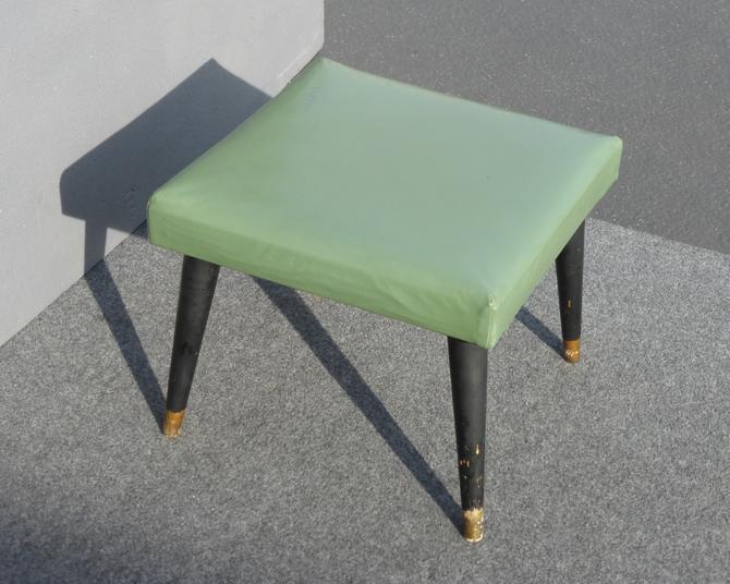 Vintage Mid Century Modern Green Vinyl Peg Leg Ottoman Stool by VintageLAfurniture