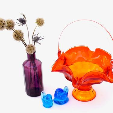 Mid-Century Persimmon Orange Glass Bon Bon Basket   Viking Epic Line Handkerchief Candy Dish   CoLoR PoP Catchall   Retro Decor by ELECTRICmarigold