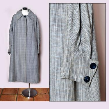 1950's Gray Vintage Long Overcoat Trench Coat, Mid Century Swing Coat Grey Plaid Blue WOMENS by Boutique369