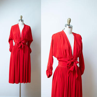 RARE 1950s Claire McCardell Dress / 50s Red Rayon Tie Front Dress by FemaleHysteria