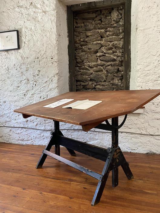 Industrial drafting table antique drafting table industrial standing desk by VintaDelphia