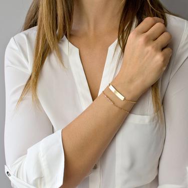 Nameplate Bracelet, Gold Bar Bracelet, Personalized Bar Bracelet, Gold Fill, Sterling Silver, Rose Gold, Wedding Gift, Gifts for Her by LEILAjewelryshop