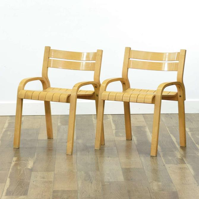 Pair Of Thonet Bent Wood Slat Chairs