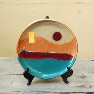 "Walt Glass (1943-2016) Studio Art Pottery 11 3/8"" Dinner Plate ~Texas Sunset w 4 Color, Drip Glaze, Terracotta, Teal & Magenta over Sand #6 by YesterdayAndTomorrow"