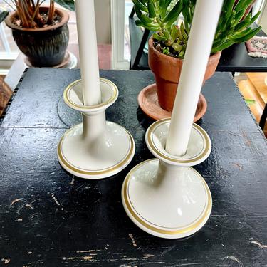 Vintage White and Gold Porcelain Taper Candle Candlestick Holders - Fitz n Floyd, Hollywood Regency, Mid Century Modern, 1970, Wedding by VenerablePastiche