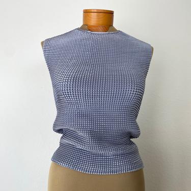 minimalist grey pleat textured sleeveless stretch blouse by miragevintageseattle