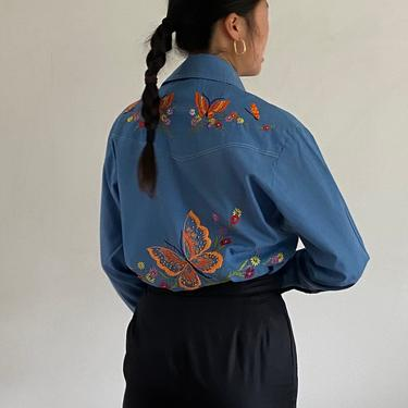 70s hand embroidered rare butterfly chambray shirt / vintage hand made embroidered botanical soft blue snap up western shirt blouse   M L by RecapVintageStudio