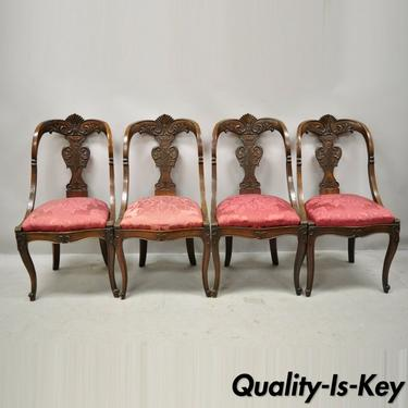 English Regency Carved Mahogany Curved Back Dining Side Chairs - Set of 4