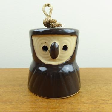 Vintage Stoneware Owl Bell   Dark Brown   Jute Cord   Japan? by TheFeatheredCurator