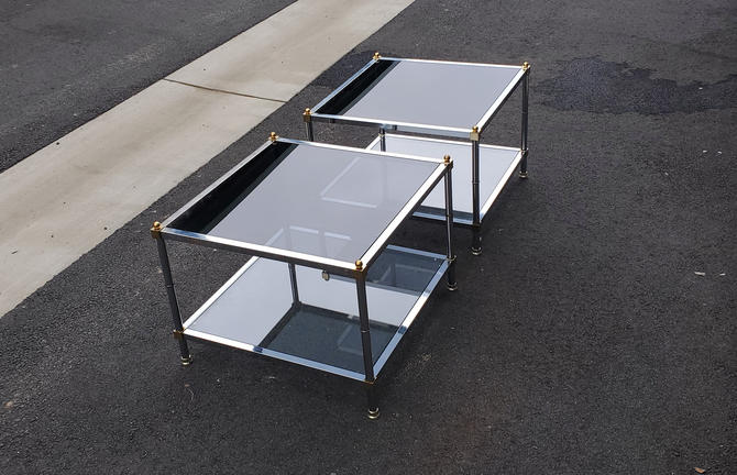 Maison Jansen Mid Century Modern Chrome & Brass End Tables Nightstands Low Profile Smoked Glass Square Pair(2) Geometric Hollywood Regency! by MakingMidCenturyMod