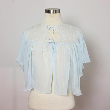 14c6259460d 70s Robe   70s nighty   Vintage capelet   Vintagr sheer cape   Baby blue  sheer