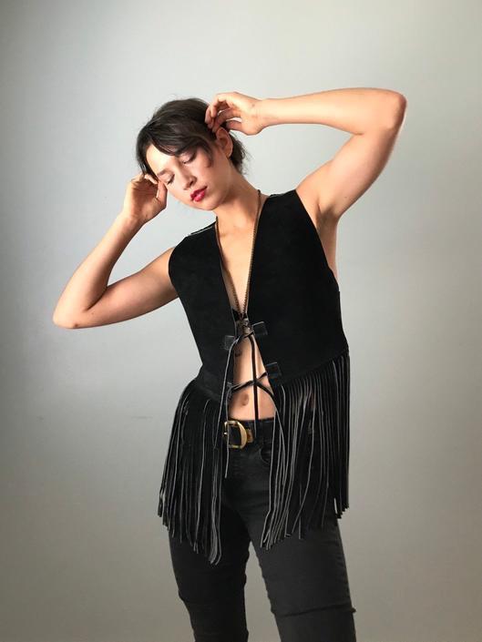 Vintage 70s Black Suede Vest w/ Fringe by SpeakVintageDC