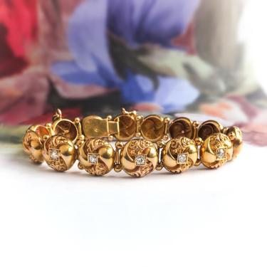"Antique Diamond Button Bracelet Victorian Circa 1890's .45ct t.w. Vintage Old European Cut Tennis Bracelet 18k Yellow Gold 6.75"" Inch Wrist by YourJewelryFinder"