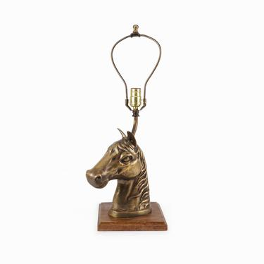 Brass Horse Head Lamp Metal Table Lamp by VintageInquisitor