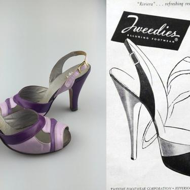 The Riviera How Refreshing - Vintage 1950s Lilac & Plum Leather Slingback Shoes Heels - 6A by RoadsLessTravelled2