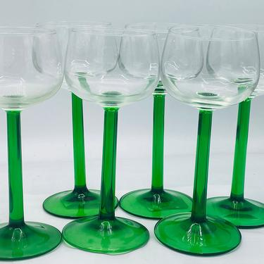 Lovely Vintage (6) Cristal D'Arques Durand Luminarc Green Stem Rhine Wine Glasses Arcoroc France 5 ounce by JoAnntiques