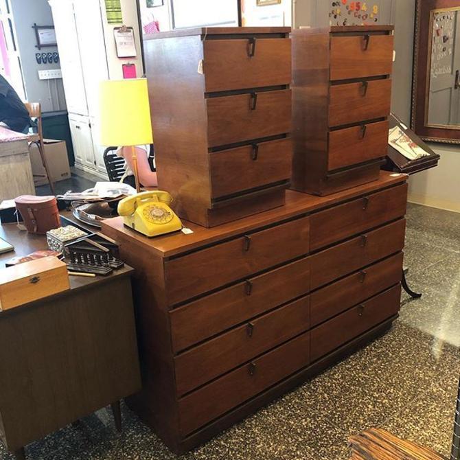 Midcentury Walnut Dresser $625, Nightstands $195 each!