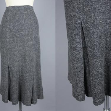 1980s NORMA KAMALI Skirt   Vintage 80s Heathered Grey Tailored Midi Skirt in Sweatshirt Material   medium by RelicVintageSF