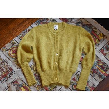 1990's | Kasha de Rodier | Chartreuse Mohair Sweater by LadyofLizard
