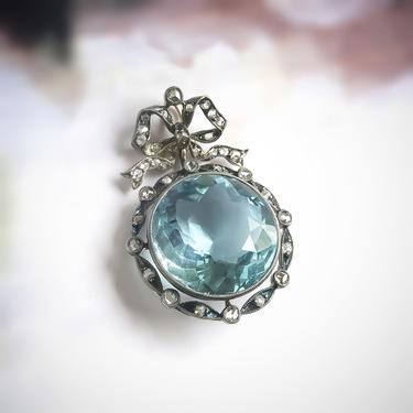 Edwardian 13.13ct t.w. Belle Epoque Aquamarine Rose Cut Diamond Bow Motif Antique Pendant Sterling Silver by YourJewelryFinder