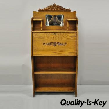 Antique Larkin Golden Oak Eastlake Victorian Secretary Desk Cabinet with Labels