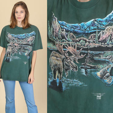 90s Moose Graphic T Shirt - Large   Vintage Green Wilderness Tee by FlyingAppleVintage