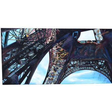 Huge 1997 Industrial Steel Architecture Painting Eiffel Tower from Below sgd Narea by PrairielandArt