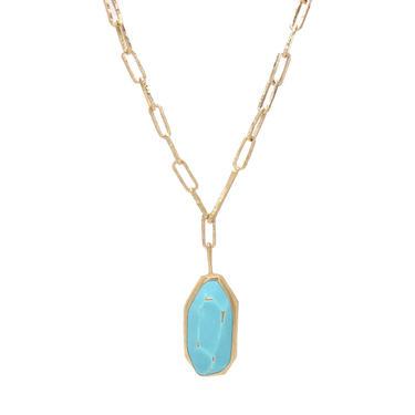 Aquamarine Blue Stoned Enamel Gem Necklace